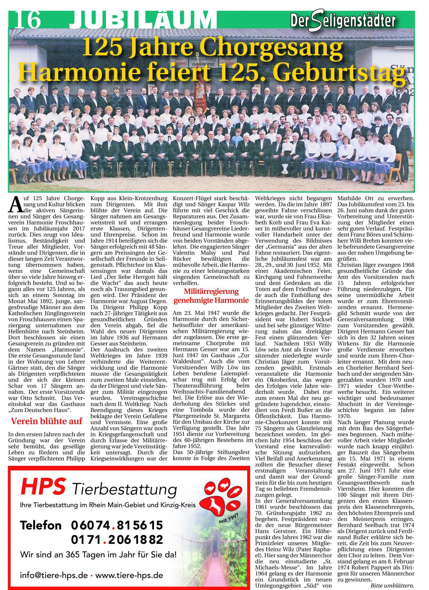 Der Seligenstädter – 125 Jahre Harmonie – Seite 1
